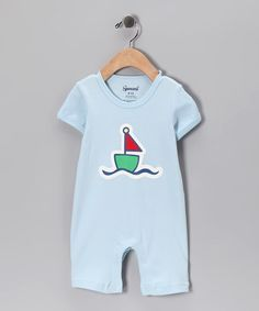 Another great find on #zulily! Light Blue Sailboat Romper - Infant by Spencer's #zulilyfinds
