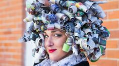This one just made me laugh.  A Diy Newspaper Wig.  Wonder how I would be received wearing this?  LOL