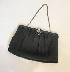 Vintage Bag    Black Satin Clutch   Vintage Handbag   Frame Purse by Ande    Mid Century Womens Cocktail Evening Bag 1f3599bb07870