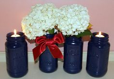 Blue Wedding / Burgundy Navy and Gold by CarolesWeddingWhimsy, This Navy and Burgundy Mason Jar Wedding Centerpiece are perfect for a Fall Wedding.  You can find it here https://www.etsy.com/listing/400444345/blue-wedding-burgundy-navy-and-gold