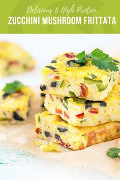 This delicious high protein Zucchini Mushroom Frittata breakfast is a great way to use up your summer veggies with a super satisfying meal.