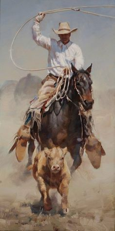 On the Chase Cowboy Roping Wrapped Canvas Giclee Print Wall Art - Wall Decor - Wild Wings Cowboy Horse, Cowboy And Cowgirl, Pin Ups Vintage, Arte Equina, Westerns, Cowboy Pictures, Cow Girl, Cow Boys, West Art