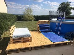 Having a swimming pool deck creation in your garden completes the whole swimming pool set perfectly. But in this DIY pallet idea, the swimming pool deck has been set with the blend of wood pallet furniture too. As you do get tired from too much swimming, you can relax on the wood pallet couch set placed on top of the deck.
