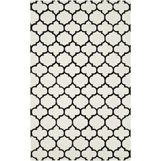 Make your home office cozier with a quatrefoil wool rug. Kandice Black and White Quatrefoil 5x8 Wool Rug | Weekends Only Furniture and Mattress