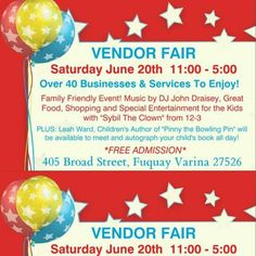 ***Famous Friday's***  I Am On Purpose, LLC would like to give a Famous Friday shout out to:   The Fuquay Varina Vendor Fair coordinators and all of the vendors.  Come out tomorrow Saturday, June 20th, take a break out of the sun while enjoying some indoor fun. There will be lots to see, do, and buy for adults and children.    Stay tuned for next week's Famous Friday shout out, it might be you. Blessings!  ~ Jatasha Harris