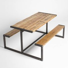 Industrial Style Pub Bench Picnic Table In 2019 Iron Furniture, Steel Furniture, Furniture For You, Furniture Projects, Vintage Furniture, Industrial Design Furniture, Industrial Style, Furniture Design, Wooden Shelves
