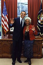 President Obama and Nichelle Nichols giving the Vulcan salute!