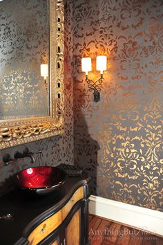 Bronze Foil Damask with Catherine Wall Sconce: SC2160
