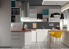 pop art kitchen, colorful kitchen, modern kitchen Kitchen Modern, Kitchen Art, Kitchen Colors, Pop Art, Colorful, Table, Furniture, Home Decor, Decoration Home