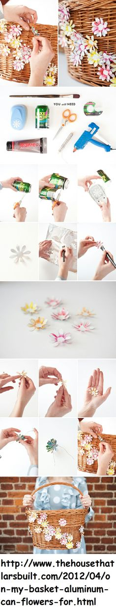 Flores feitas de latinhas de alumínio.