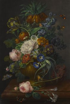 Johann Baptist Drechsler STILL LIFE OF FLOWERS IN AN URN ON A MARBLE LEDGE