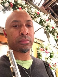 Warming up the flute before Dress. Happy Holidays decorations in full effect at #Studio8H