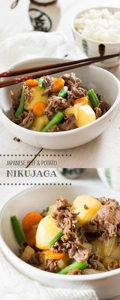 Frugal Food Items - How To Prepare Dinner And Luxuriate In Delightful Meals Without Having Shelling Out A Fortune Nikujaga - Japanese Beef And Potatoes Japanese Dinner, Japanese Food, Japanese Recipes, Asian Recipes, Beef Recipes, Cooking Recipes, Thai Cooking, Cooking Chef, Kitchen