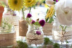 DIY Whimsical Lace and Twine Wrapped Jars