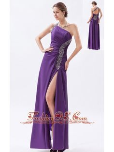 Purple Column / Sheath One Shoulder Prom Dress Chiffon Beading Floor-length  http://www.fashionos.com  Purple chiffon prom dress feathers the fabulous status. Backless and side splitting accent your sexy feeling. One-shoulder design is great and attractive.Beadings and sequins features the one shoulder and the back.This excellent dress is your best choice for any party.