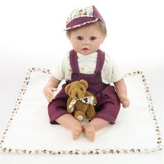 """120.80$  Watch here - http://ali3ab.worldwells.pw/go.php?t=32716404637 - """"22"""""""" 55cm Real Like Reborn Baby Dolls Soft Silicone Lifelike Reborn Baby Dolls For Boys Sleep Partners Cheap Reborn Babies Online"""""""