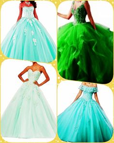 Mint Quinceanera dress - Beautiful quinceanera and Sweet 16 dresses - Size Chart for choosing the ideal size. Affordable quinceanera gowns and dress accessories for your fantasy party. Quinceanera Trends & Tips ? Does Your Quince Dress Have to be Mint? Sweet 16 Dresses, Cute Dresses, Formal Dresses, Mint Quinceanera Dresses, Fantasy Party, Quince Dresses, Dress Making, Ball Gowns, Fashion Dresses