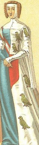 Medieval heraldic parti-colored (mid-parti) cotehardie with tippets and very high neckline, 12-15th century