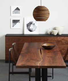 2015 Ad, walnut reverse matched tabletop with black steel i-beam base and lighting by Graypants #UrbanHardwoods #SalvagedWood