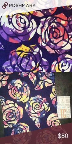 Lularoe DISNEY WATERCOLOR BEAUTY AND THE BEAST Watercolor roses on purple background. Brand new. Unworn. Supersoft LuLaRoe Pants Leggings