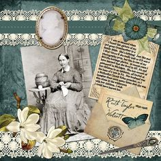 Ruth Taylor Wolcott...sweet lace trim and a vintage cameo embellishment give this page a lovely feminine look. Love the antique calling card peeking out the envelope!