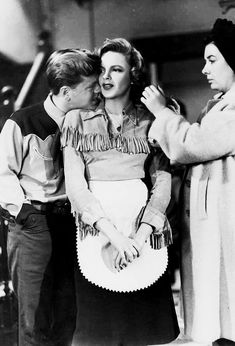 """Judy Garland and Mickey Rooney on the set of """"Girl Crazy,"""" 1943 """""""