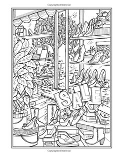 Creative Haven Main Street Coloring Book (Creative Haven Coloring Books) Free Adult Coloring, Adult Coloring Book Pages, Coloring Pages To Print, Creative Haven Coloring Books, House Colouring Pages, Black And White Sketches, Doodle Art Journals, Printable Coloring, Colorful Pictures