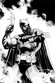 Batman by Jim Lee Jim Lee Batman, Dc Comics, Batman Comics, Batman And Catwoman, Batman Art, Comic Book Characters, Comic Books Art, Book Art, Damian Wayne