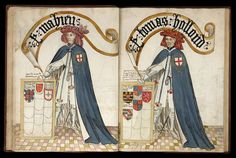 William Bruges's Garter Book, 1430-1440, Lord Mohun and Holland.