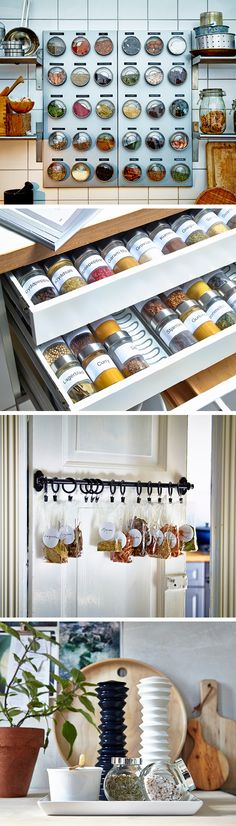 Four ways to spice up your spice storage: 1. Magnetic jars with clear lids can make a decorative statement. 2. If you store your spices in a drawer, spice trays are a handy way to keep them in order. 3.Hanging your spices on the inside of your pantry door will give them a cool and dry storage place. 4. A decorative and practical solution is to place the spices and seasoning you use most on a tray.
