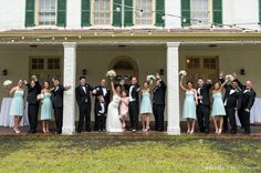 Bridal Party with teal dresses
