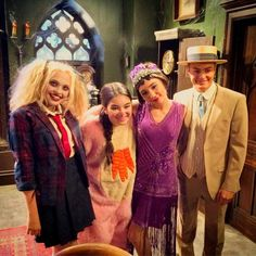 From left: Lauren Taylor (Shelby) and Landry Bender (Cyd) from Disney's Best Friends Whenever with Rowan Blanchard (Riley) and Peyton Meyer (Lucas) from Disney's Girl Meets World are ready for their crossover.