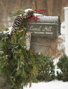Outdoor Holiday Decorating - Traditional Home® love this mailbox decor Outdoor Christmas, Country Christmas, Christmas Home, Christmas Holidays, Christmas Wreaths, Christmas Ideas, Christmas Inspiration, Holiday Ideas, Christmas Ornaments