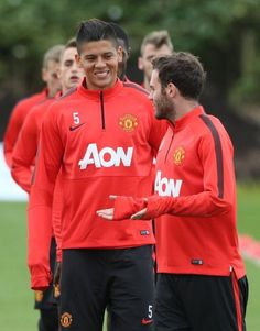 Marcos Rojo in Manchester United training with Juan Mata