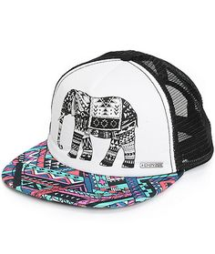 Set your style apart from the rest with this adjustable trucker hat that features a tribal elephant graphic on the padded front panels and a contrast colorful tribal print bill.