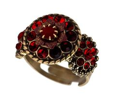 $73.00 Michal Negrin Adjustable Ring with Central Hand-Painted Flower, Sparkling Red Swarovski Crystals - Handmade in Israel  From Michal Negrin   Get it here: http://astore.amazon.com/ffiilliipp-20/detail/B005ISPNUG/175-3363608-5660364
