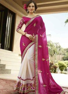Fantastic Fancy Georgette Pink And OFF White Half And Half Designer Sarees