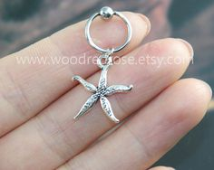 Silver starfish stud earring, starfish earring, star cartilage, star tragus earring, CBR Captive Bead Ring Cartilage Hoop cartilage earring