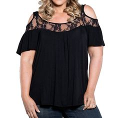 a522d8ffedd Womens Loose Short Sleeve Scoop Neck Cut Out Off Shoulder Crochet Lace Tops  Blouse Plus Size