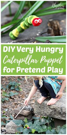 Making a DIY Very Hungry Caterpillar puppet for pretend play is an easy craft kid's can make. It only takes 5 minutes start to finish to make one of these little cuties inspired by popular children's book. Older children will be able to make these on their own, while preschoolers like mine will need assistance. Use for imaginative dramatic play, in story baskets, and as an addition to a butterfly nature study homeschool unit. These make great party and baby shower favors.