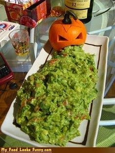 (I don't like all the ideas on this site, but I love the pumpkin and guacamole idea!)  29 Creepy, Spooky, Scary, Gross and Disgusting Halloween Recipes