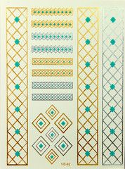 Gold and turquoise metallic temporary flash tattoos. Temporary Tattoo, Body Art, Mermaid, Flash Tattoos, Ink, Quilts, Metallic, Turquoise, Free Shipping