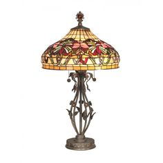 Dale Tiffany Lamps Floral Wave Tiffany 2 Light Table Lamp - TT10532