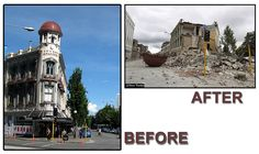 Earthquake before after by Damon Bay, via Flickr New Zealand Earthquake, Christchurch New Zealand, 2nd City, Close To Home, South Island, Canterbury, Street Art, Damon, Travel