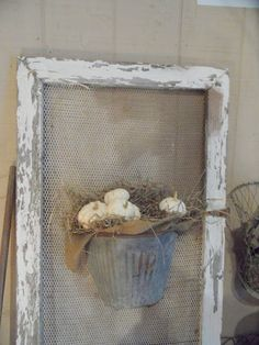 Shabby French Cottage:  old window, screen, container idea.
