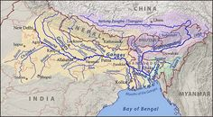 UPSC IAS General Studies Course of Ganga (Ganges) River from Gangotri to Bay of Bengal. Gangotri is called the origin of the River Ganga and seat of the goddess Ganga. Geography Map, Physical Geography, Geography Activities, Rishikesh, Indian River Map, Brahmaputra River, System Map, Bay Of Bengal, West Bengal