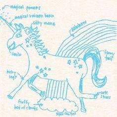 Natural Tea Towel, Unicorn