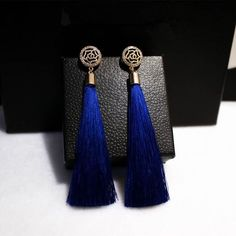 Gold plated tassel long earrings for women bijoux fashion jewelry red, black, blue colors