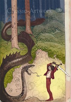 It simply isn´t an adventure worth telling if there aren´t any dragons, as the saying goes. Here is a swordfight by John Bauer. New print, for sale. €. Nytryck, A4, till salu. John Bauer, pojke och drake.
