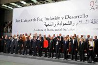President Cristina Kirchner and other leaders pose for the official photo of the Third Summit of Heads of State and Government of South American and Arab Countries, in Lima, Peru.